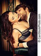passionate couple - Beautiful passionate couple in love....