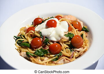 beautiful pasta with cherry tomatoe