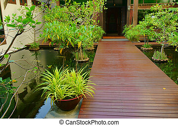 Beautiful path in a tropical garden