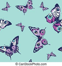 beautiful pattern, butterflies, on a blue