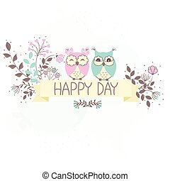 Beautiful pattern card with owls
