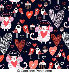 Beautiful pattern lovers cats and birds - Seamless beautiful...