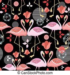 beautiful pattern lovers flamingos - seamless pattern of red...