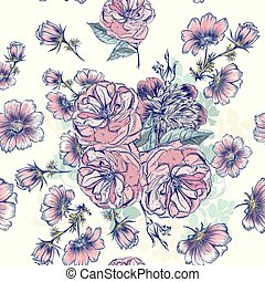 Beautiful pattern with hand drawn roses and  cosmos flowers in engraved and watercolor style.eps