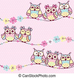 Beautiful pattern with owls