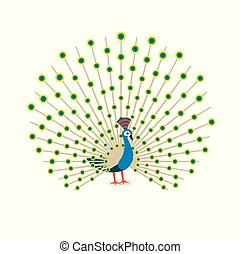 Beautiful peacock cartoon flat drawing to color. Vector illustration