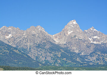 Beautiful Peaks of the Teton mountains in the Grand Teton National Park in Wyoming