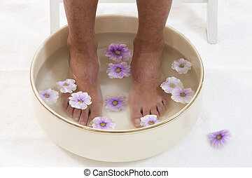 Beautiful pedicured feet with colorful spring daisies in a spa