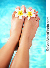 Beautiful pedicured female feet and tropical flowers. Over blue background.