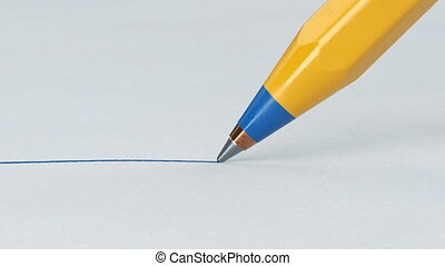 Beautiful Pen Close-up Drawing Blue Line on Clear Paper Sheet. Looped 3d Animation. Abstract Writing and Drawing Process. Business and Design Concept. 4k UHD 3840x2160.