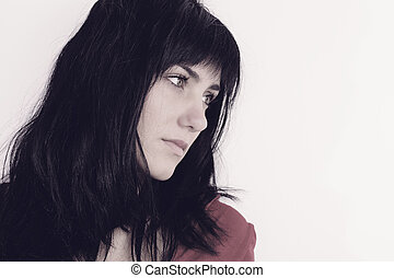 beautiful pensive lonely woman