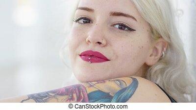 Beautiful pensive modern hipster woman - Beautiful pensive...