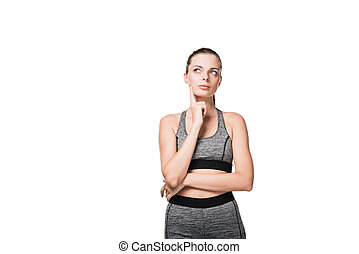 pensive sporty girl