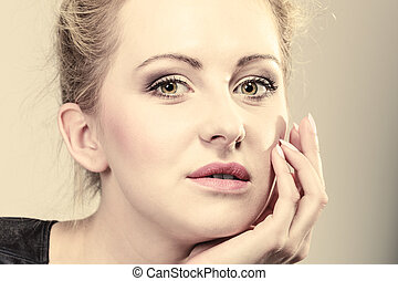 beautiful pensive woman face