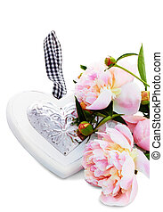 Beautiful Peonies on a white background with copy space