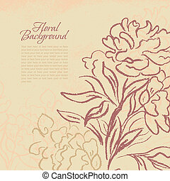Beautiful peony vintage background. Hand drawn vector...