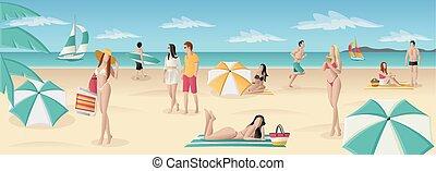 Beautiful people on tropical beach