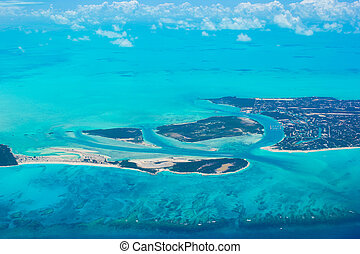 Beautiful perfect view of exotic islands from aircraft