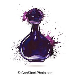 Beautiful perfume bottle. Hand drawn Watercolor vector...