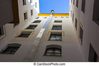 beautiful perspective architecture white building with blue sky