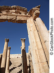 Beautiful perspective of the Roman Columns of Cardo Maximus in ancient Jerash city