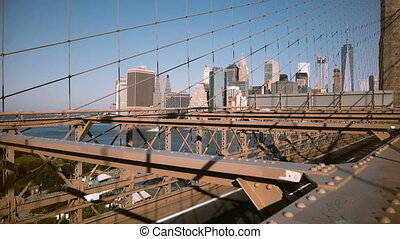Beautiful perspective view of Manhattan skyscrapers from...