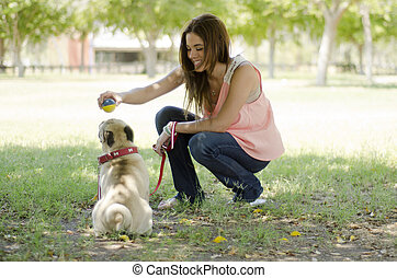 Beautiful pet lover and her dog