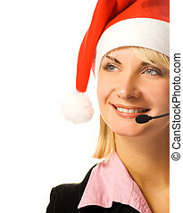 Beautiful phone operator in Santa hat