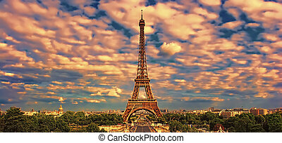 Beautiful photo of the Eiffel tower in Paris, France at sunset