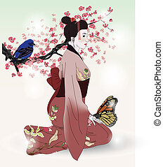 beautiful picture of a geisha with bird and butterfly
