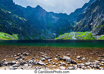 Beautiful picturesque lake in the Tatra Mountains Cherny Staw, Poland