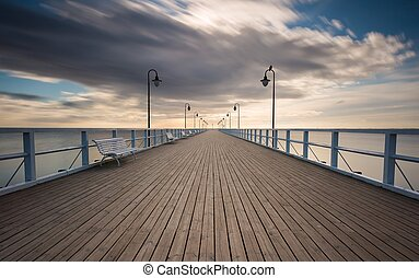 Beautiful pier in Gdynia, poland. Long exposure photo.