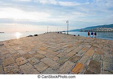 Beautiful pier scene at sunset in Trieste, Friuli-Venezia...