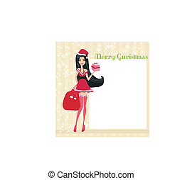 beautiful pin-up girl in Christmas inspired costume