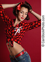 pin up girl on red background