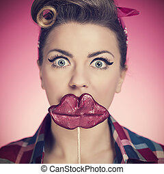 Beautiful pin-up girl with funny mouth