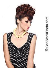 Pin Up Style Girl in Studio