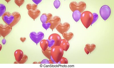 Beautiful Pink and purple Flying heart Balloons Loop Animation Alpha Channel. 4k
