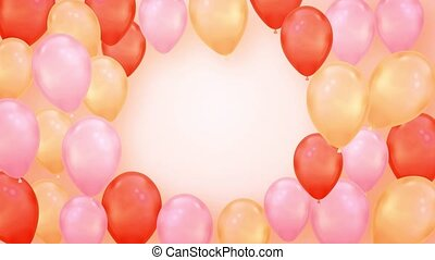 Beautiful Pink and Red Flying Balloons Loop Animation Alpha Channel. 4k