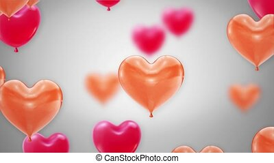 Beautiful Pink and Red Flying heart Balloons Loop Animation Alpha Channel. 4k