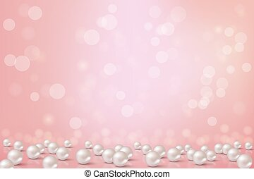 Beautiful pink background with pearls. Vector romantic ...