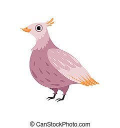 Beautiful pink bird vector Illustration on a white background
