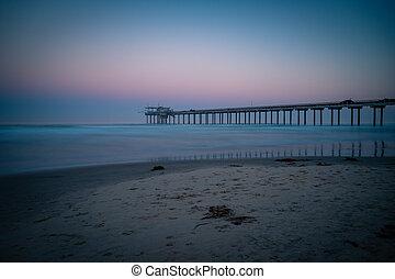Beautiful pink blue sunrise Scripps Pier La Jolla California