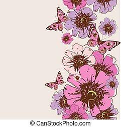 beautiful pink butterflies, pattern
