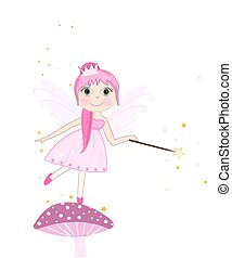 Beautiful pink fairy girl vector background