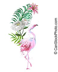 Beautiful pink flamingo composition with tropic leaves, flowers