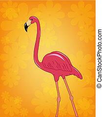 Beautiful pink flamingo on a flower orange background
