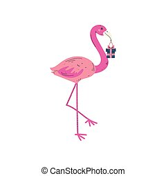 Beautiful Pink Flamingo with Gift Box, Cute Animal Character for Happy Birthday Design Vector Illustration