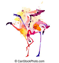 Beautiful pink flamingo,watercolor, isolated on white