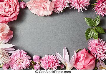 Beautiful pink flowers frame